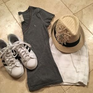 Grey Abercrombie T-shirt with v-neck